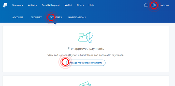 PayPal pre-approved payments page screenshot